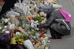 PEOPLE PAY TRIBUTE TO BRUSSELS VICTIMS Stock Images