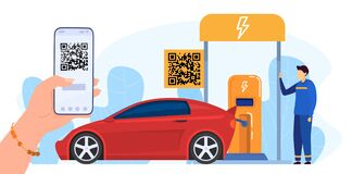 Free People Paying With QR Code Vector Illustration, Cartoon Flat Woman Hand Using Smartphone, Payment For Refueling Car In Stock Photo - 192229750