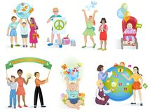 People in peace vector world kids on planet earth and worldwide earthly friendship illustration peaceful set of boys or stock illustration