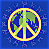 People @ Peace in the world Blue. Peace symbol with people silhouette around the outer edge layered with a map of the world Royalty Free Stock Photography