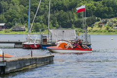 People in the  pedal boats Royalty Free Stock Images