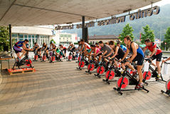 People pedaling during a spinning class Royalty Free Stock Photography