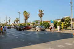 People on a pedestrian crossing in Viareggio, Italy Royalty Free Stock Images