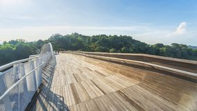 People in pedestrian walk at wooden bridge walkway over forest w. Ith trees and modern urban city Stock Photos