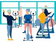 People, pensioner in the gym. training on simulators. In minimalist style Cartoon flat Vector. Illustration vector illustration