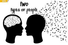 People perceive music differently. Musical talent. Music to goosebumps. Musical gift. Different types of people endowed with their gift of perception of music Stock Image