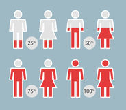 People Percentage Icons for infographic or presentation - vector Illustration. People Percentage Icons for infographic or presentation Stock Photo