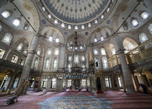 People perform the ritual prayers of islam in Eyup Sultan Mosque Stock Photos
