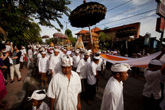 People during performed Melasti Ritual on Bali Stock Photography