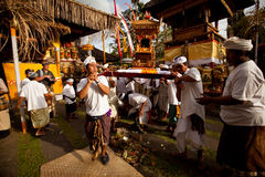 People during performed Melasti Ritual on Bali Royalty Free Stock Photo