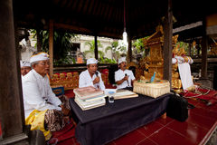 People is performed Melasti Ritual in Indonesia. Royalty Free Stock Images