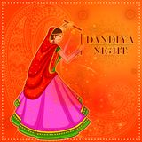 People performing Garba dance on poster banner design for Dandiya Night Stock Photography