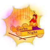 People performing Garba dance on poster banner design for Dandiya Night Stock Photo