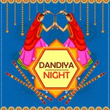 People performing Garba dance on poster banner design for Dandiya Night Royalty Free Stock Image