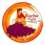 People performing Garba dance on poster banner design for Dandiya Night Royalty Free Stock Photo