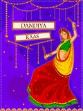 People performing Garba dance on poster banner design for Dandiya Night Royalty Free Stock Images