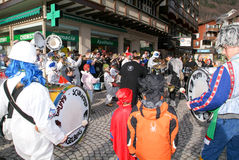 People performing Gugge Music at the carnival of Engelberg Stock Image
