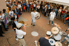 People performing Gugge Music at the carnival of Lugano Royalty Free Stock Images