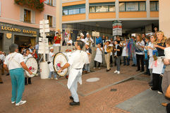 People performing Gugge Music at the carnival of Lugano Stock Images