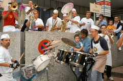 People performing Gugge Music at the carnival of Lugano Stock Image