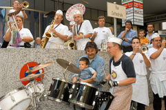 People performing Gugge Music at the carnival of Lugano Stock Photos