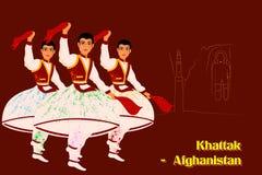 People performing Khattak dance of Afghanistan Stock Photos