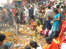 Varanasi, Uttar Pradesh, India - November 2, 2009 People performing pooja at the ghats on the occasion of Dev Deepavali festival. People performing pooja at the Royalty Free Stock Images