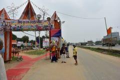People perfroming Kanvar Yatra or Kavad Yatra (Hindi Words), it is annual pilgrimage of devotees of  Shiva Stock Photo