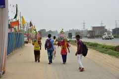 People perfroming Kanvar Yatra or Kavad Yatra (Hindi Words), it is annual pilgrimage of devotees of  Shiva Stock Images