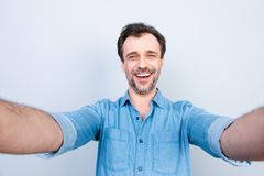 People person business refreshment success fortune concept. Clos. E up portrait of cheerful excited amazed surprised, casual jeans denim clothes, taking self Royalty Free Stock Image