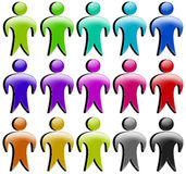 People/person/icon 3D coloured set. Isolated on white background Stock Photo