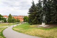 People on Petrin hill with Jan Neruda statue in Prague, Czech Republic Stock Image