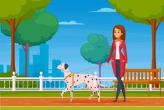 People With Pets Cartoon Background. Colored cartoon background with young woman walking in city park with her dog of dalmatian breed vector illustration Stock Images