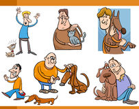 People with pets cartoon set Royalty Free Stock Photography