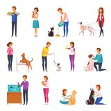 People With Pets Cartoon Set Stock Images