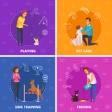 People With Pets 2x2 Cartoon Square Icons. People with pets 2x2 design concept with pet care dog training playing and feeding square icons cartoon vector Royalty Free Stock Image