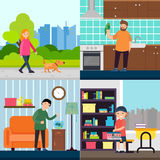 People And Pets Concept. With woman walking dog boy feeding fish man holding parrot kid with rat vector illustration Royalty Free Stock Photos