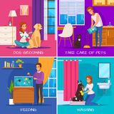 People With Pets 2x2 Design Concept. With dog grooming washing fish feeding cat care square icons cartoon vector illustration Royalty Free Stock Images