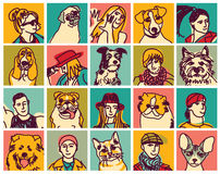 People and pets heads icons avatars set. Icons collection of pets and people. Color vector illustration. EPS8 stock illustration