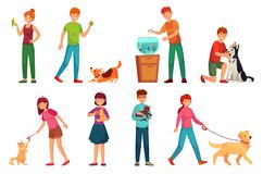 People with pets. Playing with dog, happy pet and dogs owners cartoon vector illustration set stock illustration