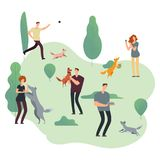 People and pets. Volunteers with homeless dogs vector illustration royalty free stock images