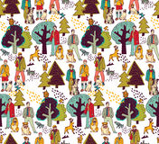 People and pets walking in park color seamless pattern Royalty Free Stock Photos