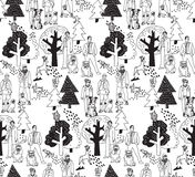 People and pets walking in park seamless pattern Royalty Free Stock Photos