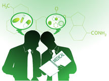People and pharmacy. Illustration of people and pharmacy, green Stock Photo
