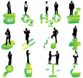 People and pharmacy. Illustration of people and pharmacy, green Royalty Free Stock Image