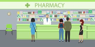People in the pharmacy. The pharmacist man stands near the shelves with medicines. In the green hall there are visitors. Vector illustration Vector Illustration