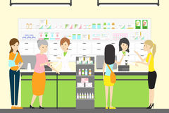People in pharmacy store. People with different illneses and diseases Stock Photos