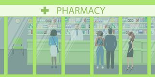 People in the pharmacy. View from the street. The pharmacist stands near the shelves with medicines. In the green hall there are visitors. Vector illustration Royalty Free Stock Image