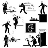 People Phobia Fear Scared Afraid. A set of pictograms representing the phobia of mouse, spider, height, cockroach, flight, and dentist vector illustration