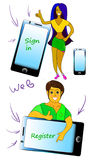 People and phone on laptop. Web button. Royalty Free Stock Photo